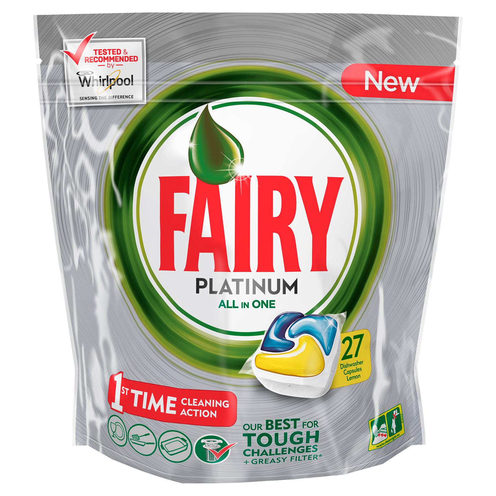 Капсулы для посудомоечной машины FAIRY Platinum All In One Лимон (27 шт)<br>