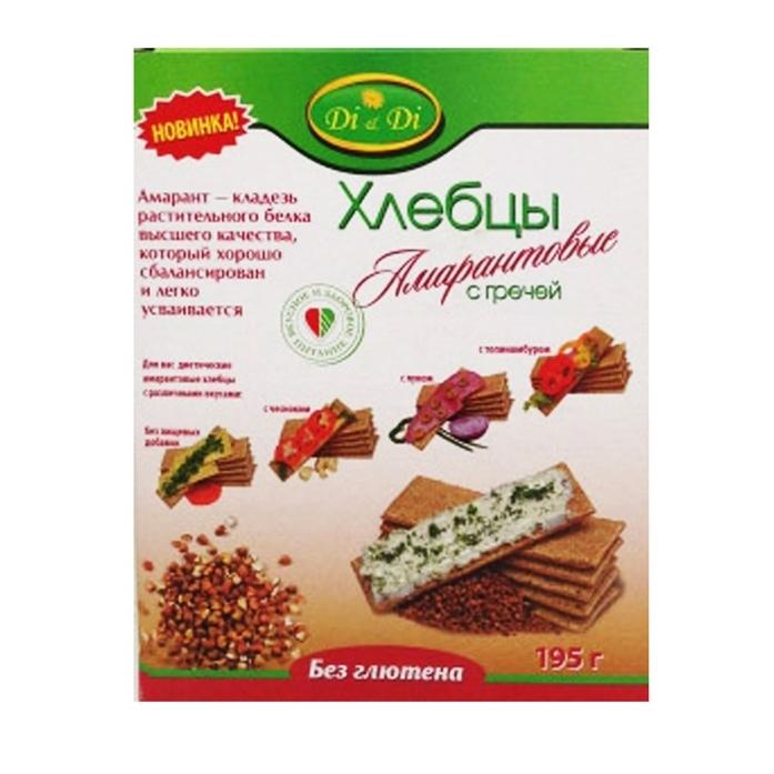 Хлебцы Di &amp;amp; Di  амарантовые 195 гр (без глютена) Рисовокукурузные с гречкой<br>