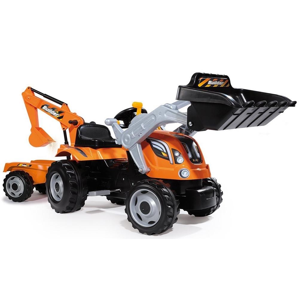 Трактор педальный Smoby Строительный с двумя ковшами и прицепами 182х44х63.5 см<br>