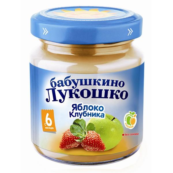 Пюре Бабушкино лукошко фруктовое 100 гр Яблоко с клубникой (с 6 мес)