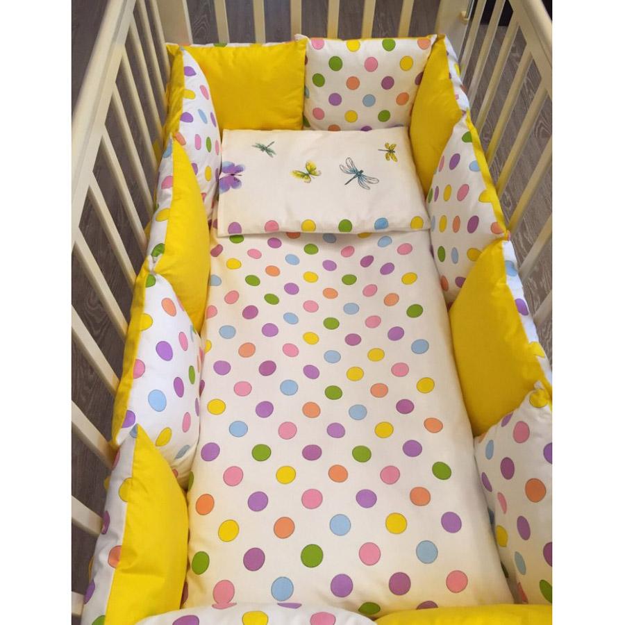 Комплект в кроватку ByTwinz с бортиками-подушками 6 предметов Яркий горох<br>