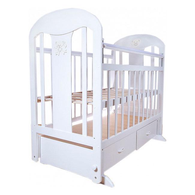Кроватка Briciola 5 с поперечным маятником Белая<br>