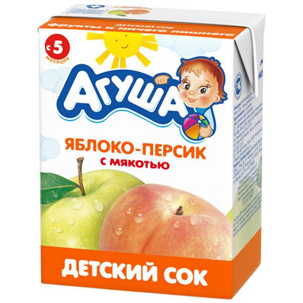 Сок Агуша 200 мл (тетрапак) Яблочно-персиковый с мякотью (с 5 мес)<br>