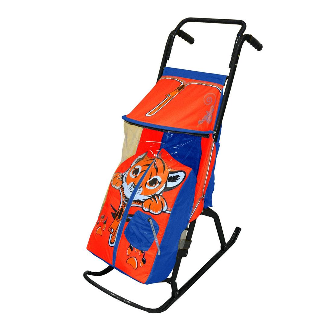 Санки-коляска Снегурочка 2-Р Тигренок Синие с красным