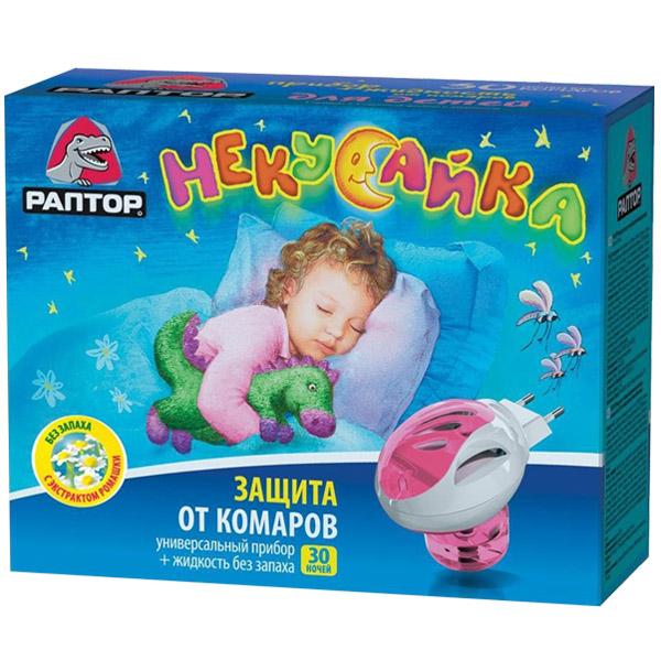 Комплект Раптор Прибор и Жидкость от комаров Некусайка (детский) 30 ночей
