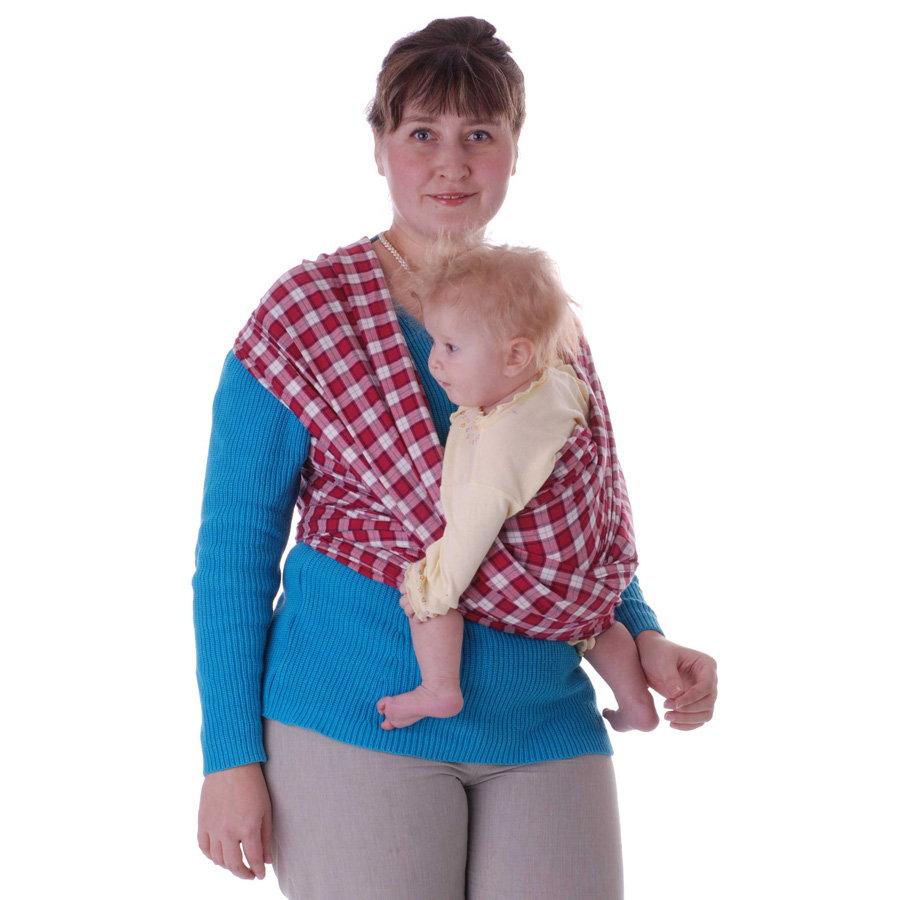 Слинг-шарф Чудо-Чадо Тартан с 0 до 3 лет красный