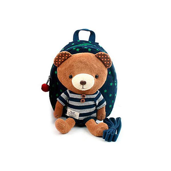 Рюкзак детский Winghouse с игрушкой и поводком 19х22х9см Мишка Синий<br>