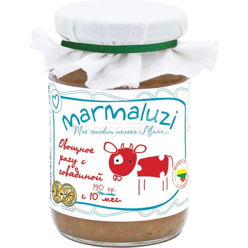 Пюре Marmaluzi мясное с овощами 190 гр. Овощное рагу с говядиной (с 10 мес)