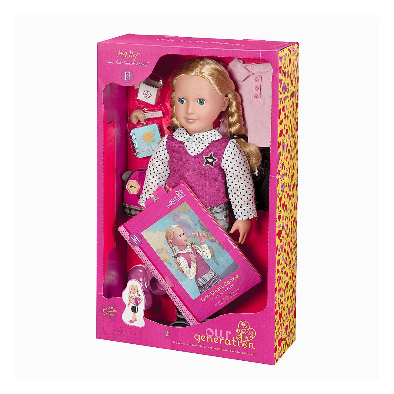Кукла Our Generation ДеЛюкс Холли 46 см с книжкой на русском языке Печенье с предсказанием для умницы<br>