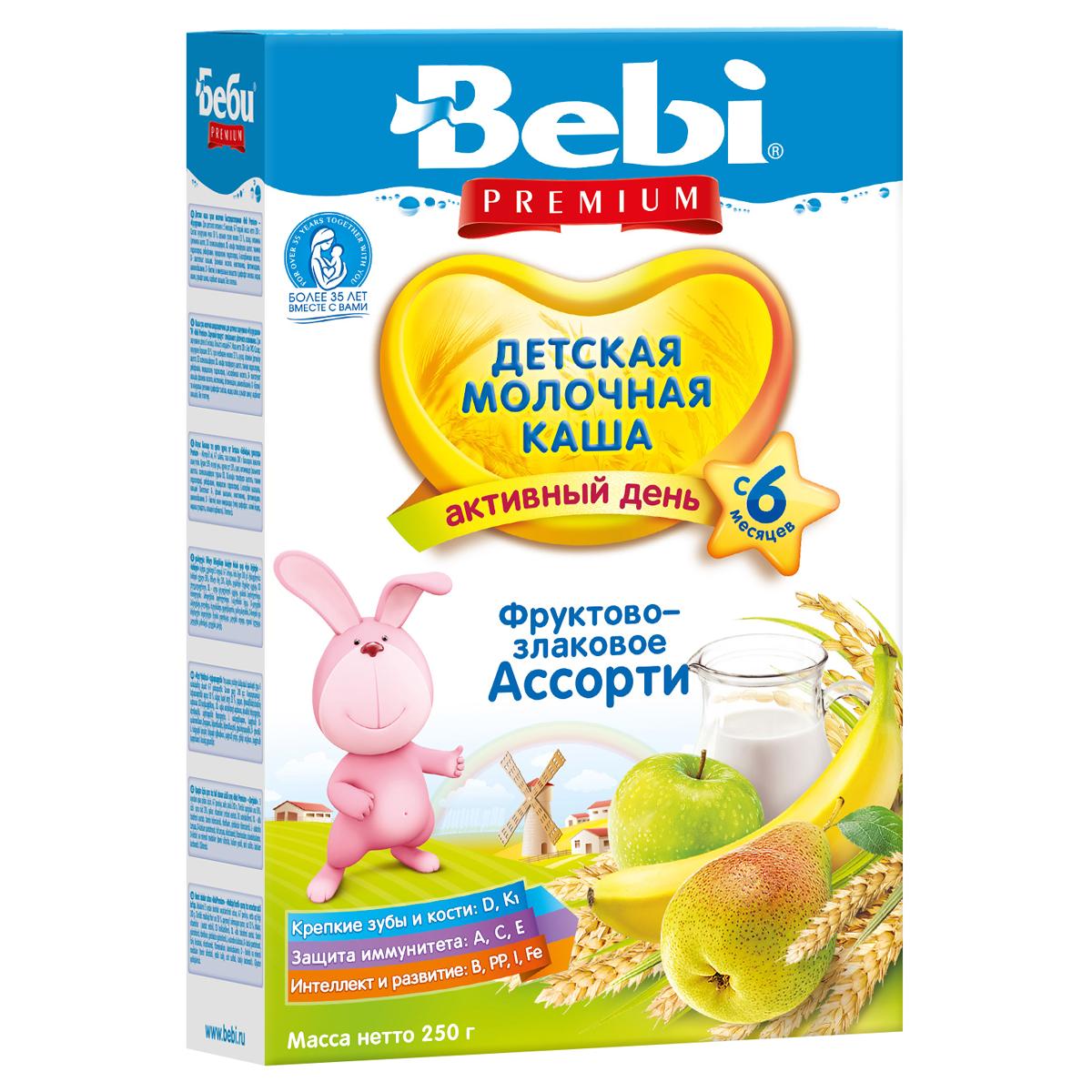 Каша Bebi Premium молочная 200 гр Фруктово-злаковое ассорти (с 6 мес)<br>