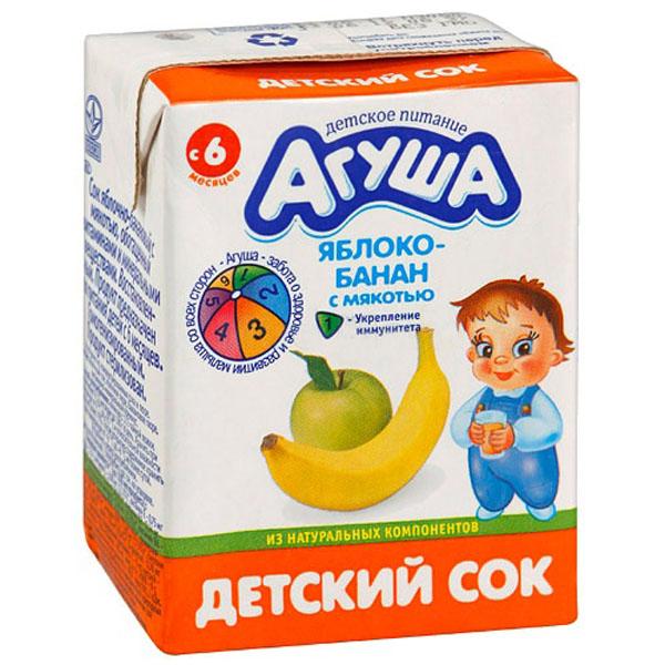 Сок Агуша 200 мл (тетрапак) Яблочно-банановый с мякотью (с 6 мес)<br>