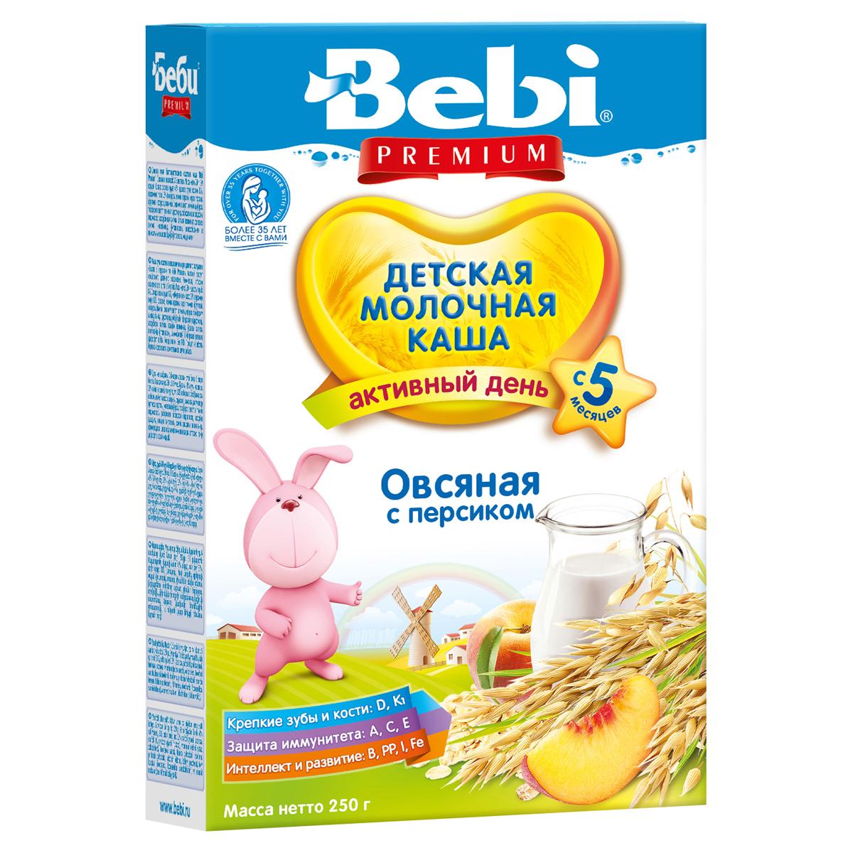 Каша Bebi Premium молочная 200 гр Овсянка с персиком (с 4 мес)<br>