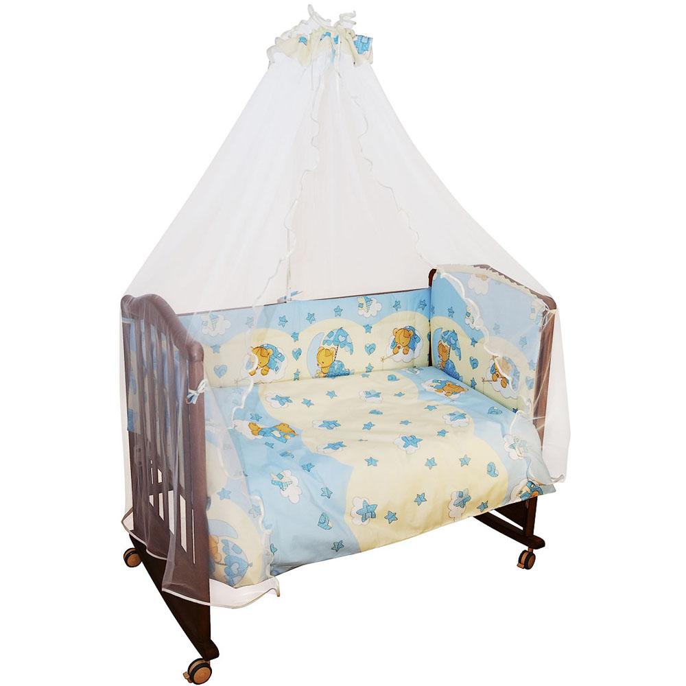 Комплект в кроватку Сонный гномик Мишкин сон 7 предметов Голубой<br>