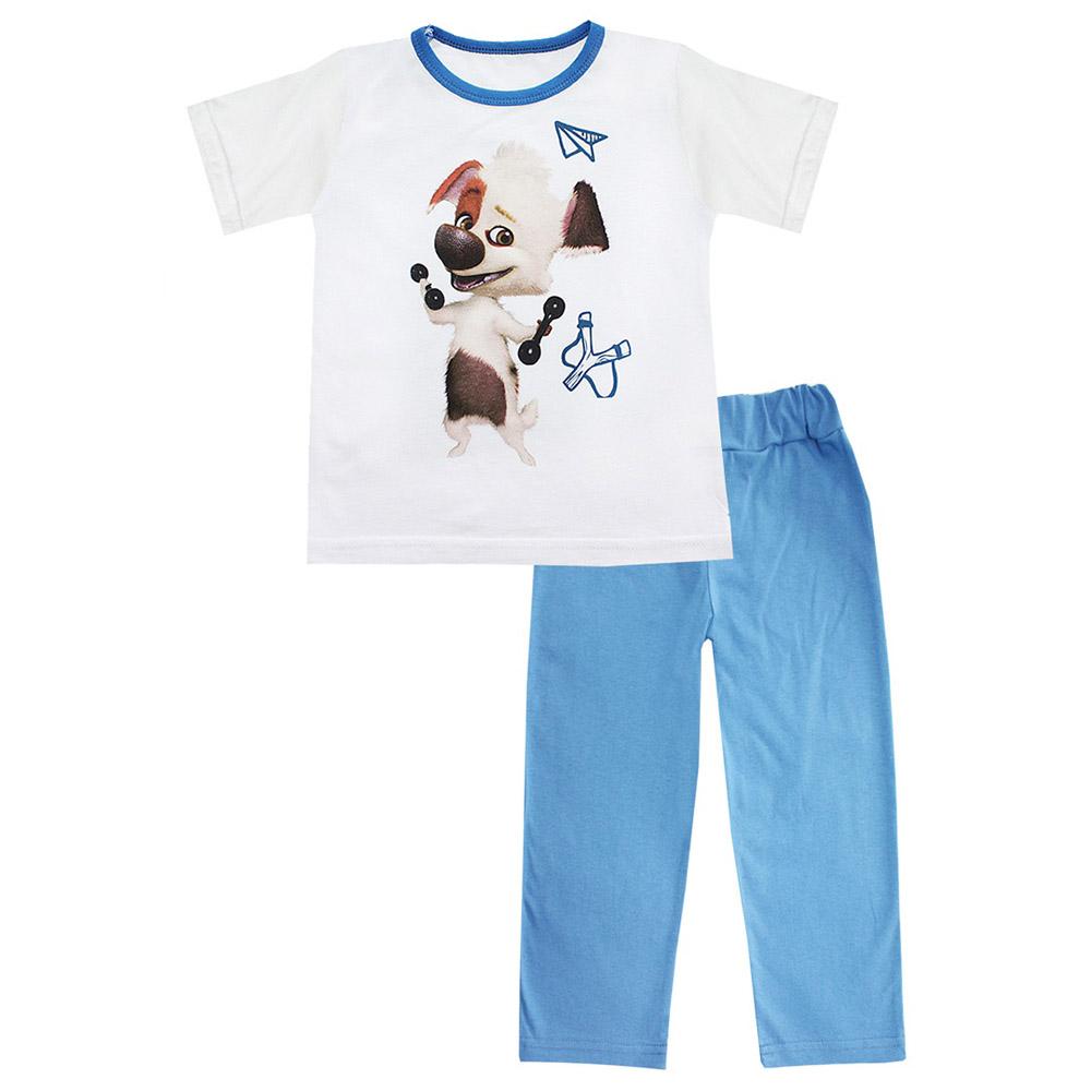 Пижама Котамркот Озорная семейка-Белка и Стрелка (Бублик) с коротким рукавом рост 98 синий<br>
