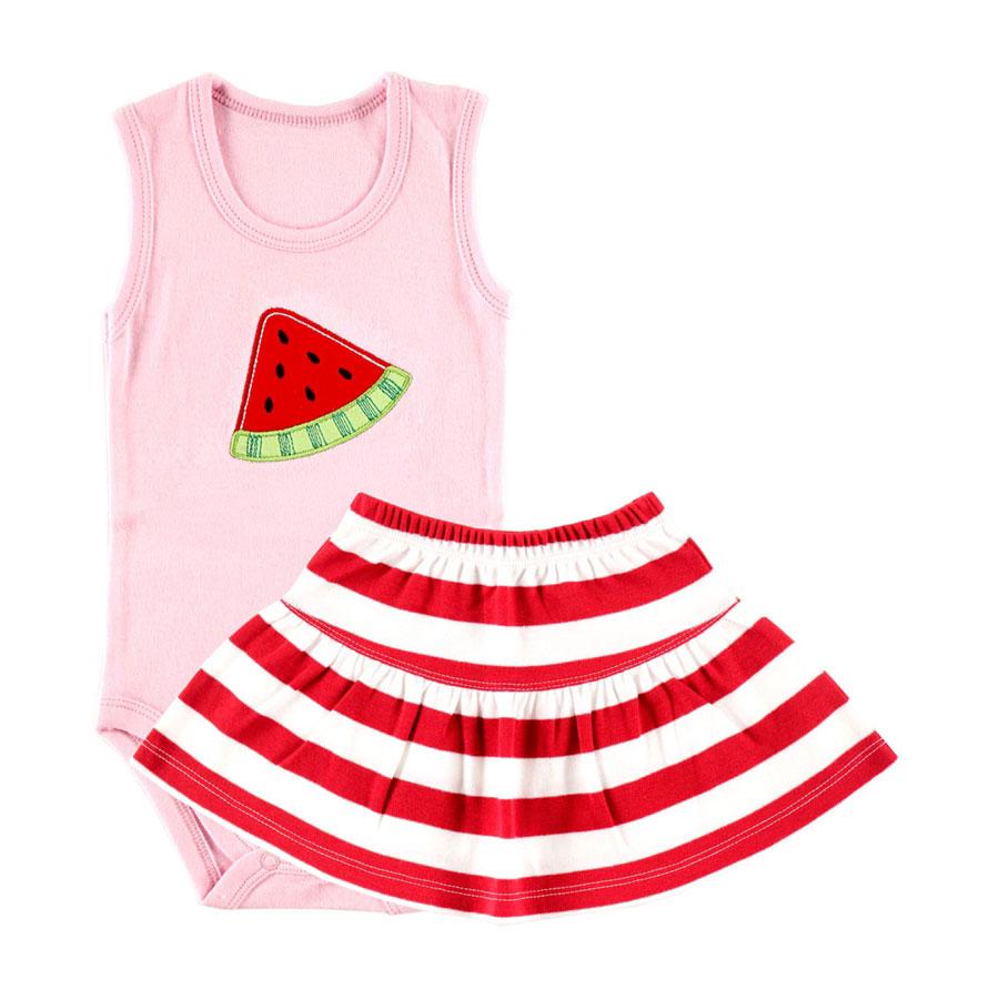 Комплект Hudson Baby Боди-майка и юбка Арбуз, 2 пр., для девочки, цвет розовый 3-6 мес. (61-67 см)