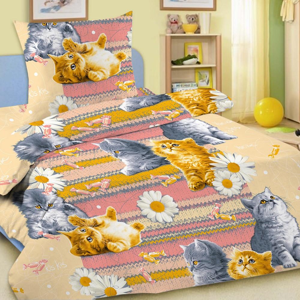Комплект постельного белья детский Letto с наволочкой 50х70 Котята<br>