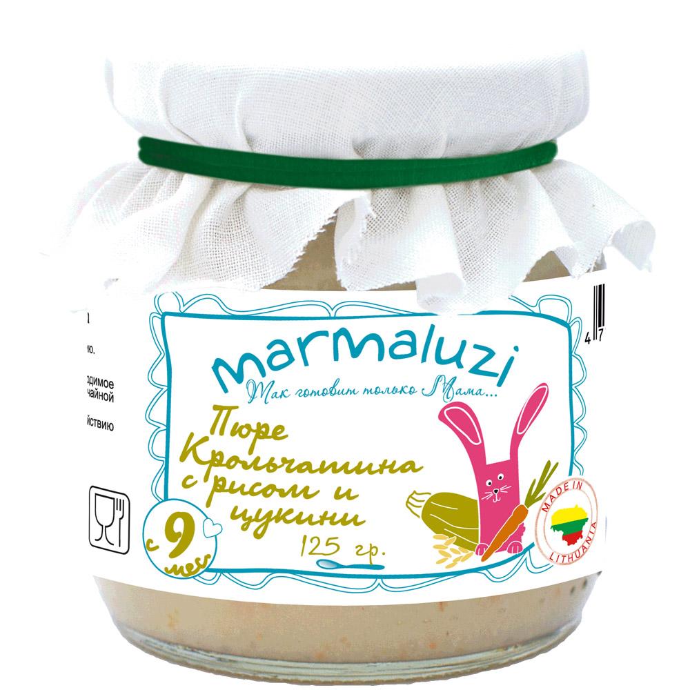 Пюре Marmaluzi мясное с овощами 125 гр Крольчатина с рисом и цукини (с 9 мес)<br>