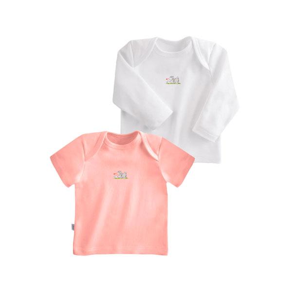 Комплект Наша Мама Be happy футболки (2 шт) рост 80 розовый, белый<br>