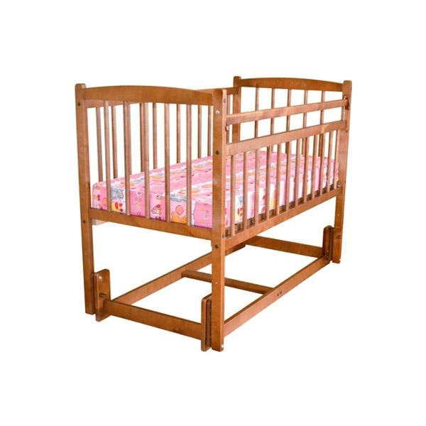 Кроватка Массив Беби продольного качания без ящика Орех<br>