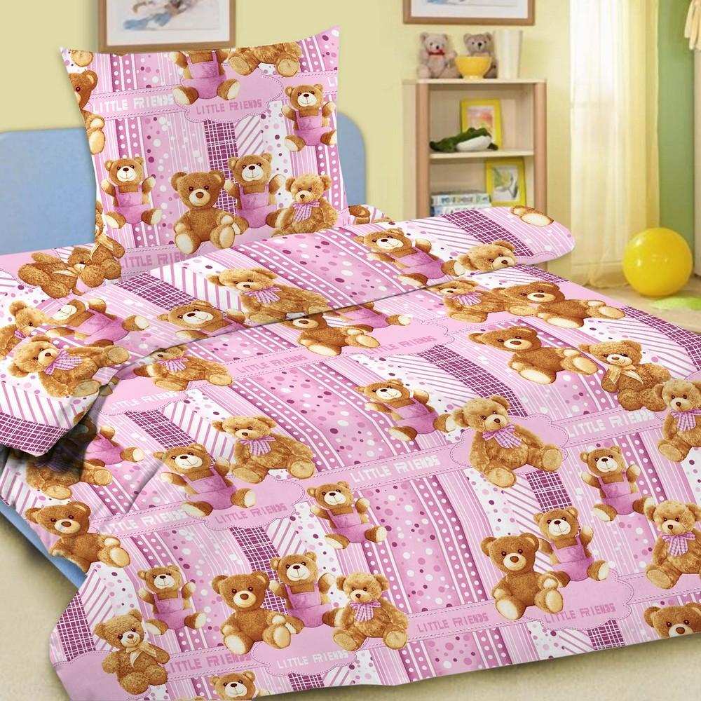 Комплект постельного белья детский Letto Мишки 1.5 спальный с наволочкой 50х70 Розовый<br>