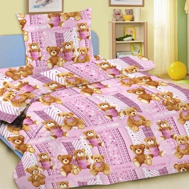 Комплект постельного белья детский Letto Мишки 1.5 спальный с наволочкой 50х70 Розовый