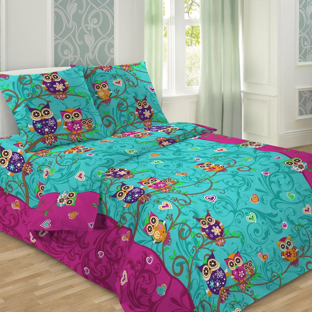 Комплект постельного белья детский Letto Сова Голубой<br>
