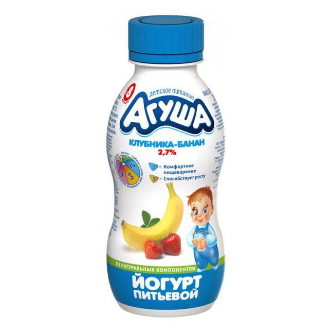 Йогурт Агуша 200 мл Клубника банан (с 8 мес)<br>