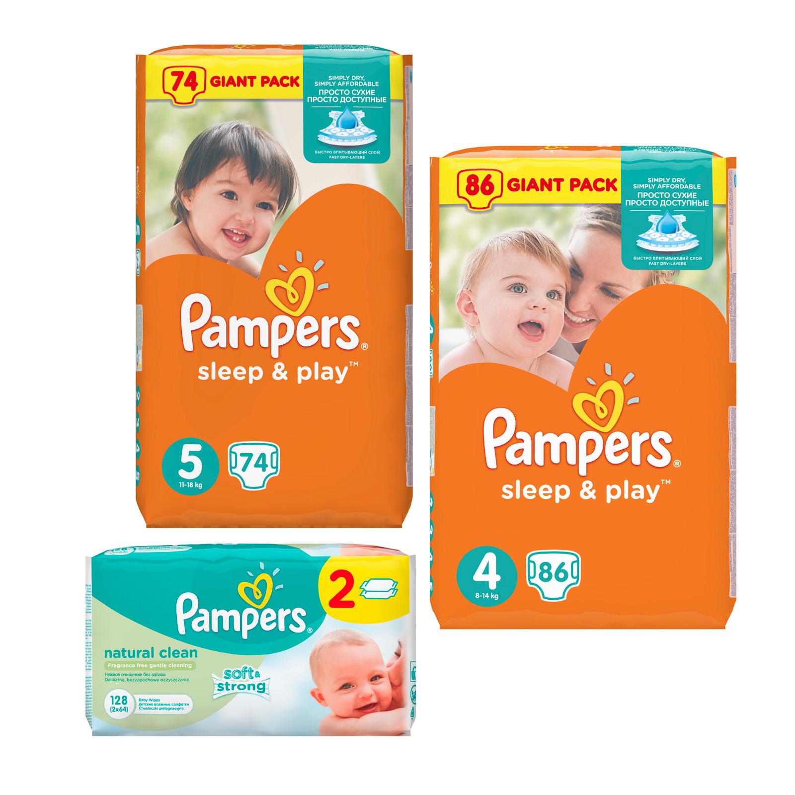 Набор Pampers №12 Подгузники Pampers Sleep&amp;amp;Play 4-5 + салфетки<br>