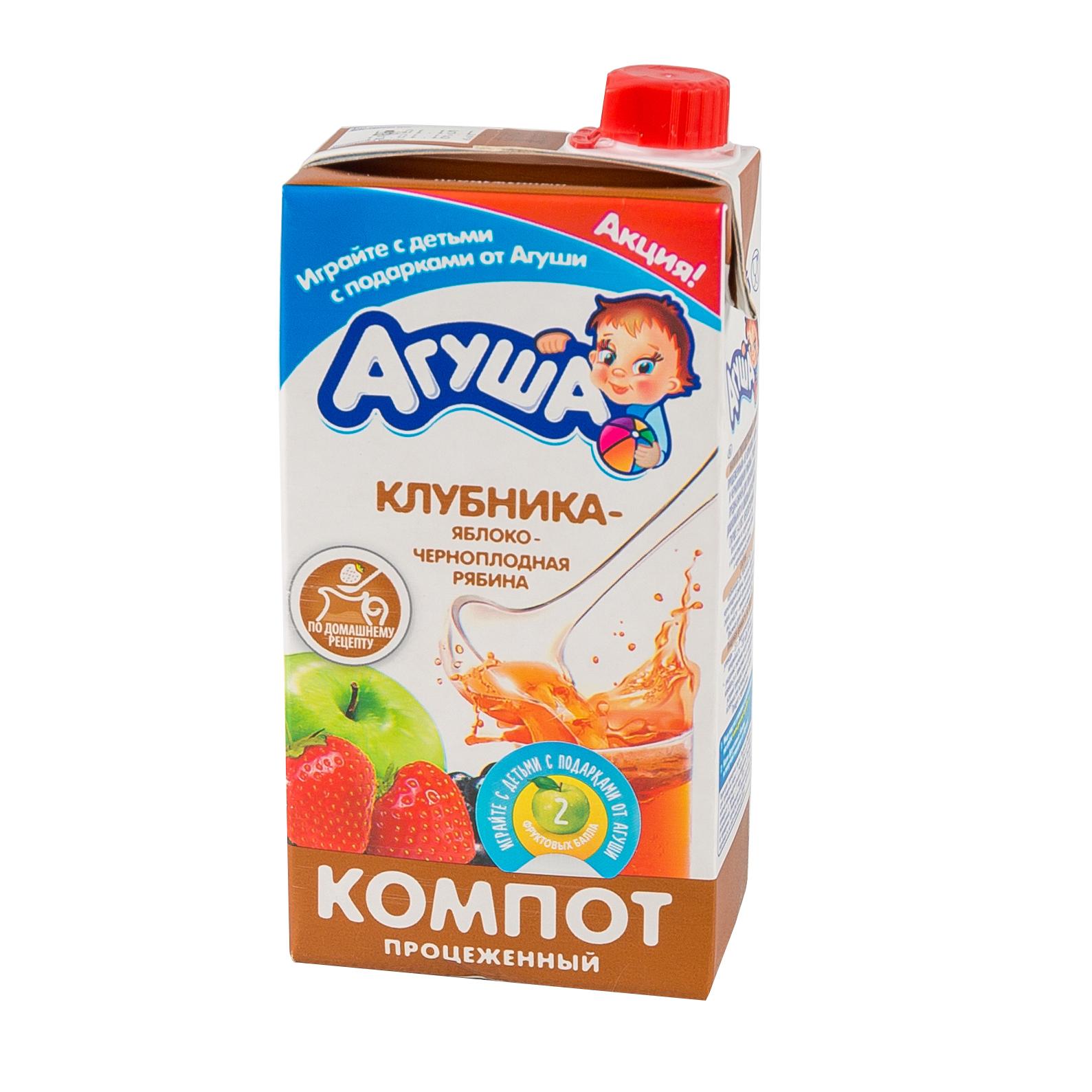 Компот Агуша 500 мл (тетрапак) Клубника яблоко черноплодная рябина (с 8 мес)<br>
