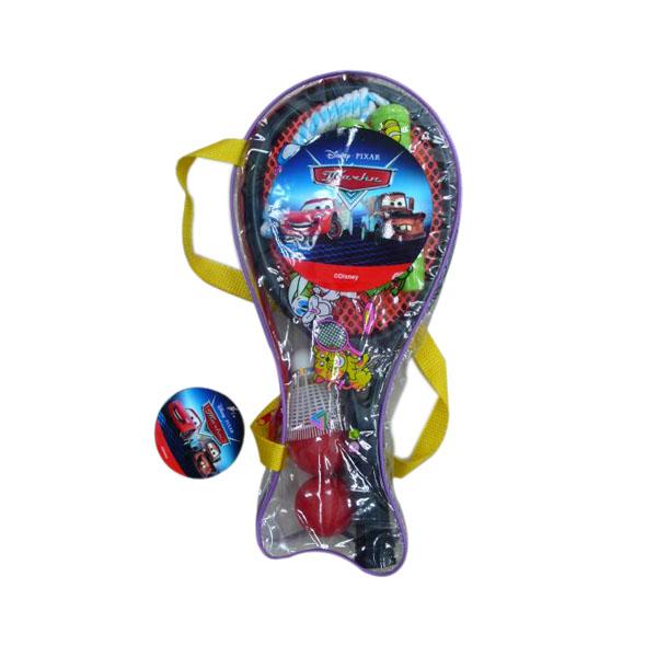 Игровой набор Тачки 2 ракетки, 2 мяча, волан летающая тарелка + скакалка (в чехле)