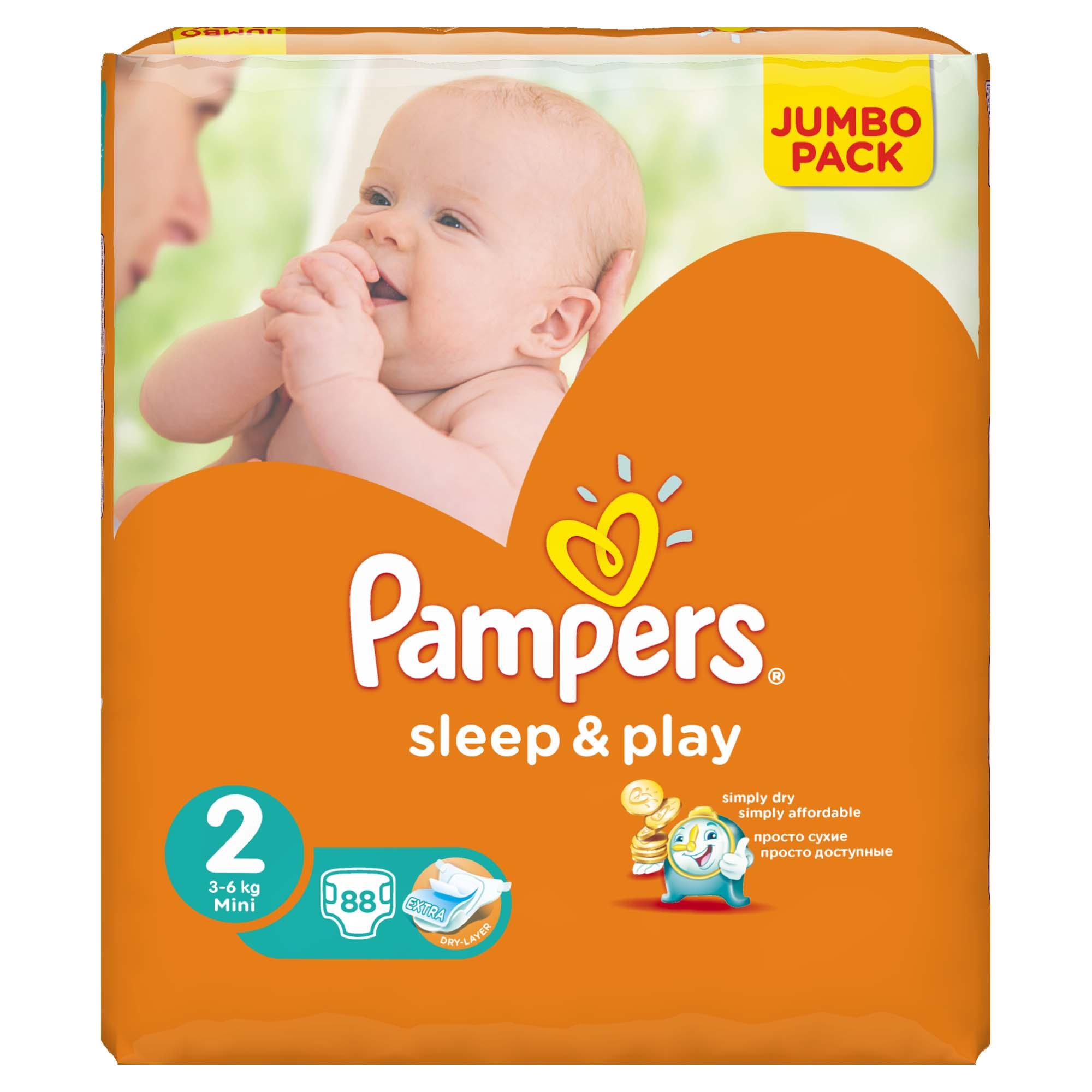 Подгузники Pampers Sleep&amp;amp;Play Mini 3-6 кг (88 шт) Размер 2<br>