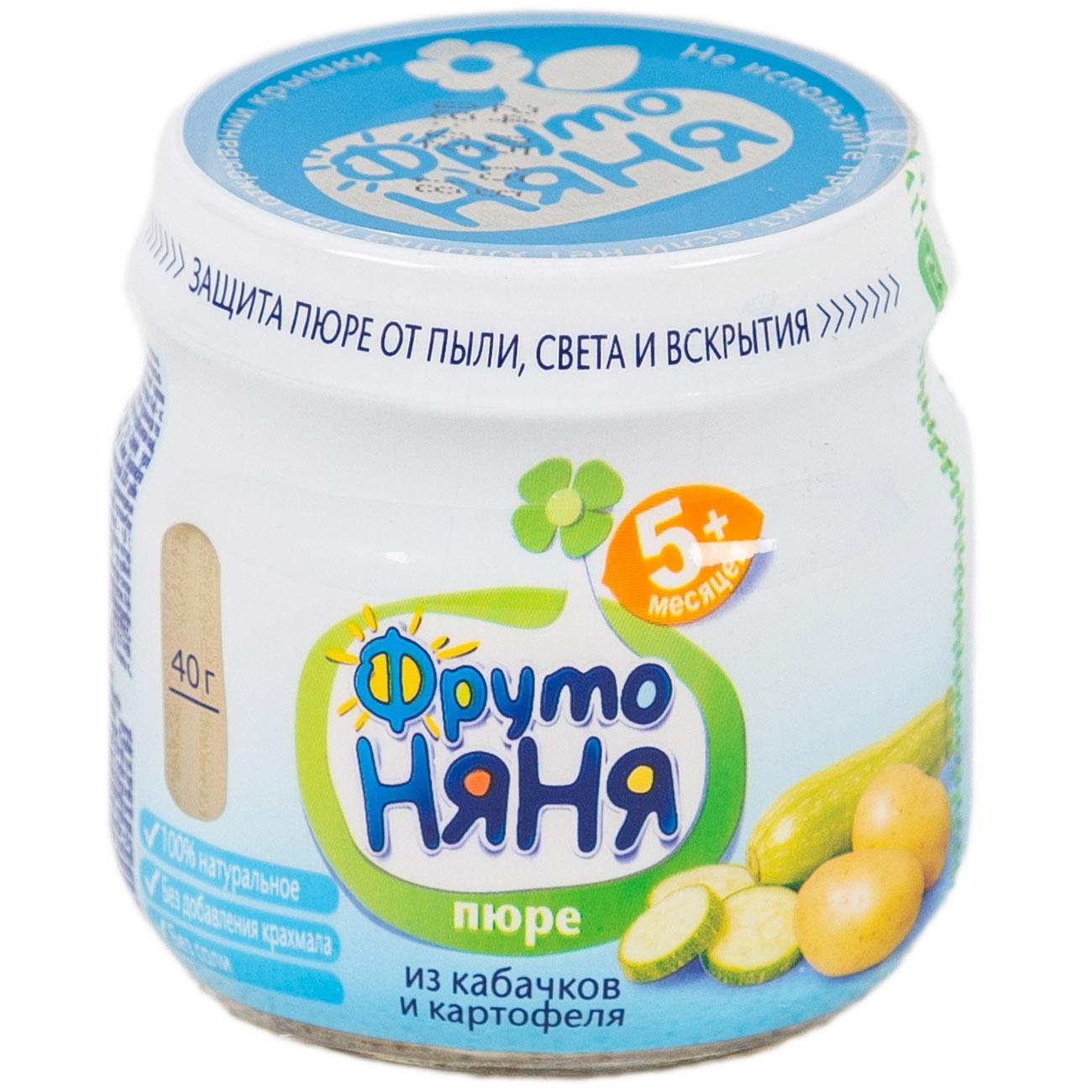 Пюре Фрутоняня овощное (без сахара) 80 гр Кабачки с картофелем (с 5 мес)<br>
