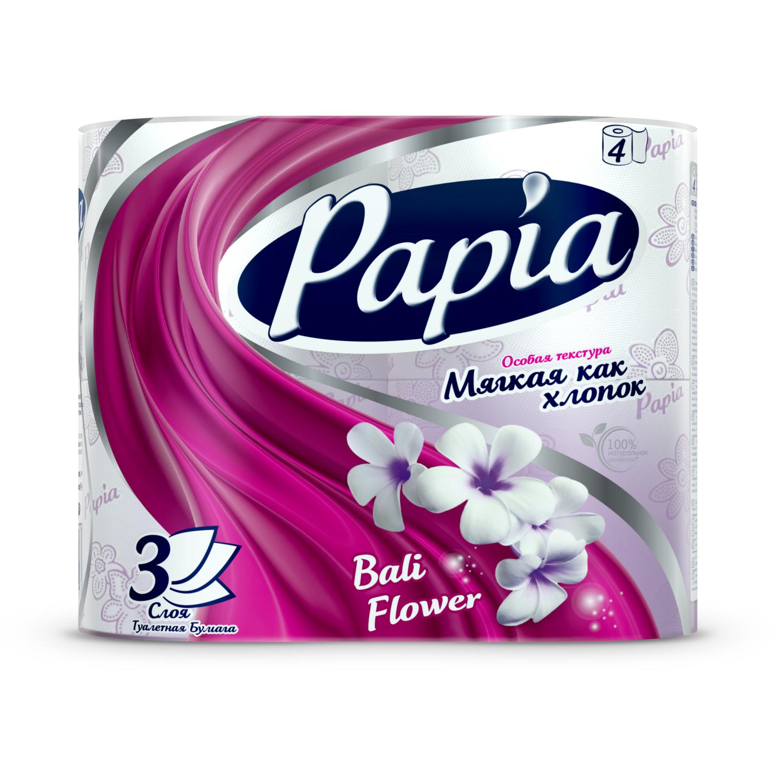 Туалетная бумага Papia с рисунком балийский цветок (3 слоя) 8 шт<br>