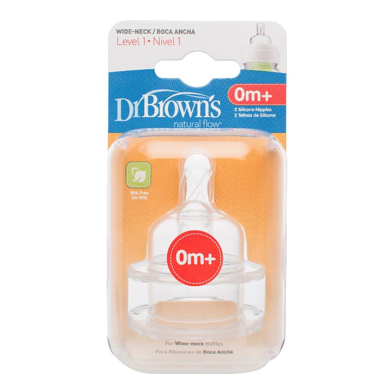Соска Dr Brown&amp;#039;s 2 шт. для бутылок с широким горлышком Уровень 1 (с 0 мес)<br>