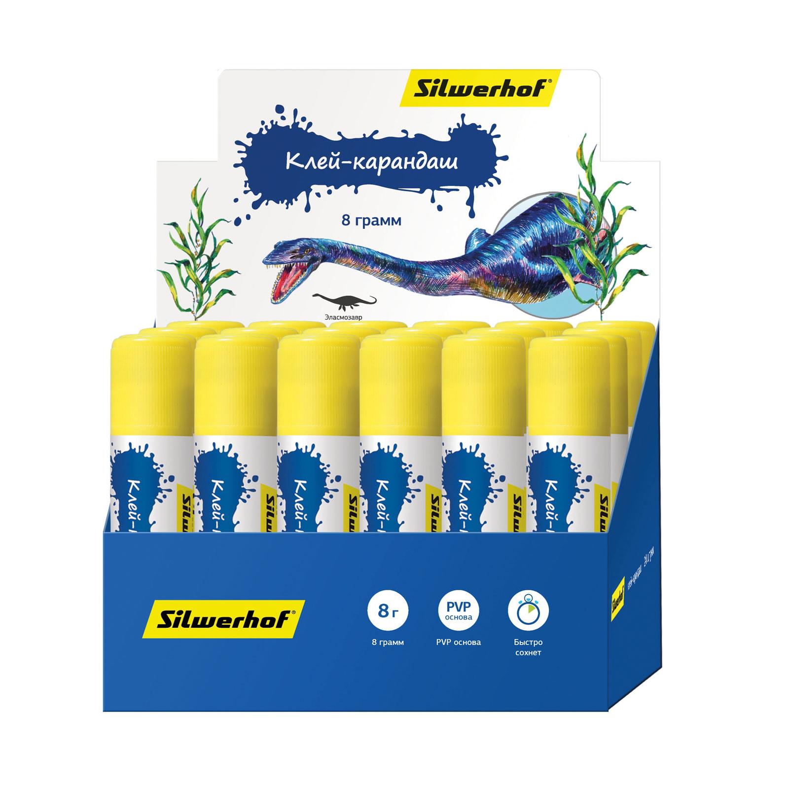 Клей-карандаш Silwerhof 8 гр Динозавры<br>