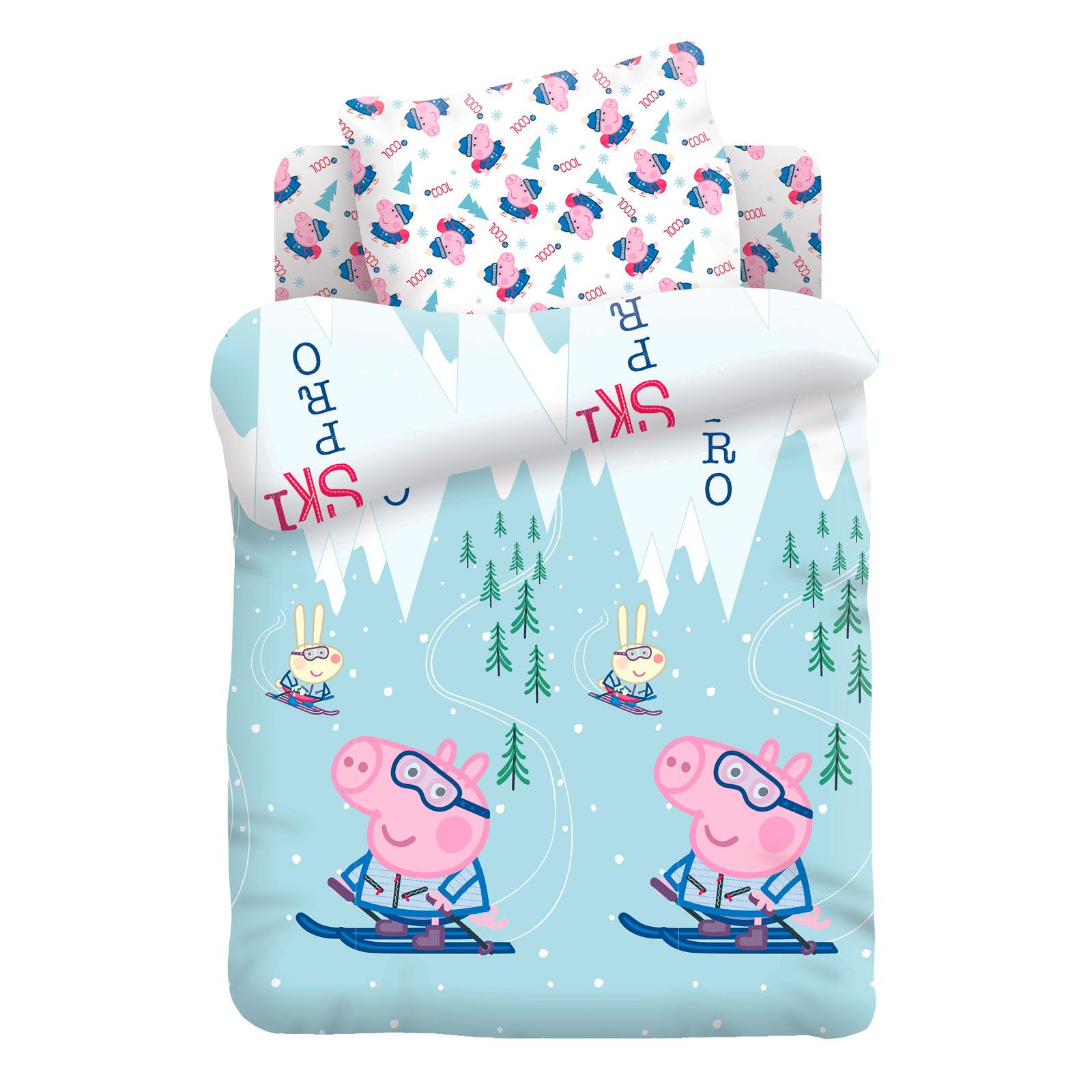 Комплект постельно белья детский Свинка Пеппа Джордж на лыжах<br>