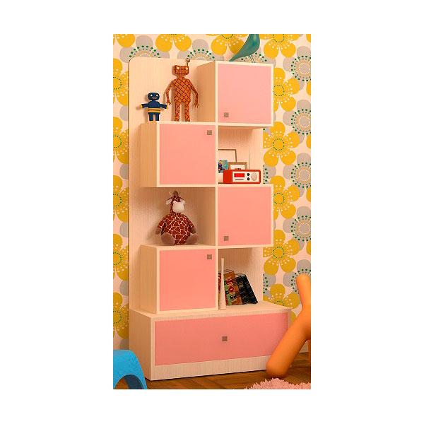 Стеллаж РВ-Мебель Дуб молочный/Розовый<br>