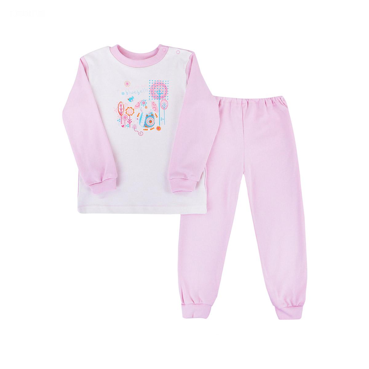 Пижама с манжетами Котмаркот Розовые слоники рост 86<br>