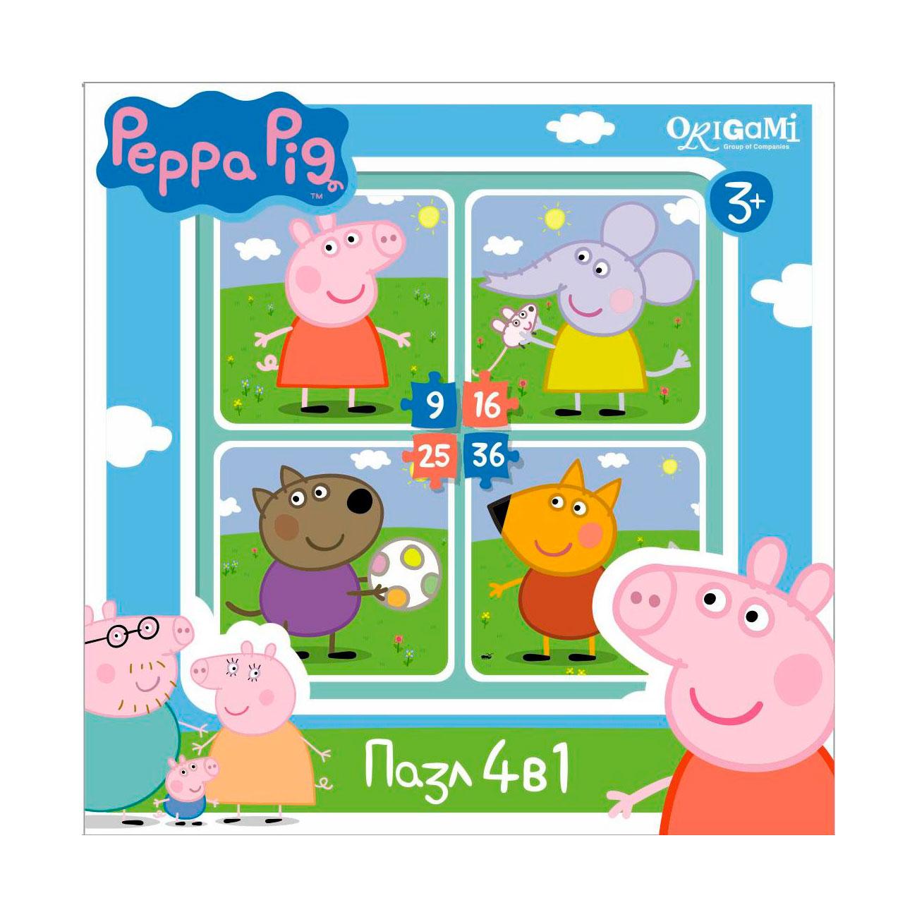 Пазл Origami Peppa Pig 4в1 На прогулке<br>