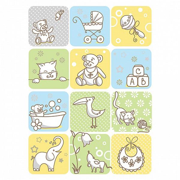 Одеяло Baby Nice байковое 100% хлопок 85х115 Веселые картинки Зеленый<br>