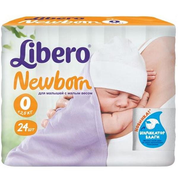 Подгузники Libero Newborn 0-2,5 кг (24 шт) Размер 0<br>
