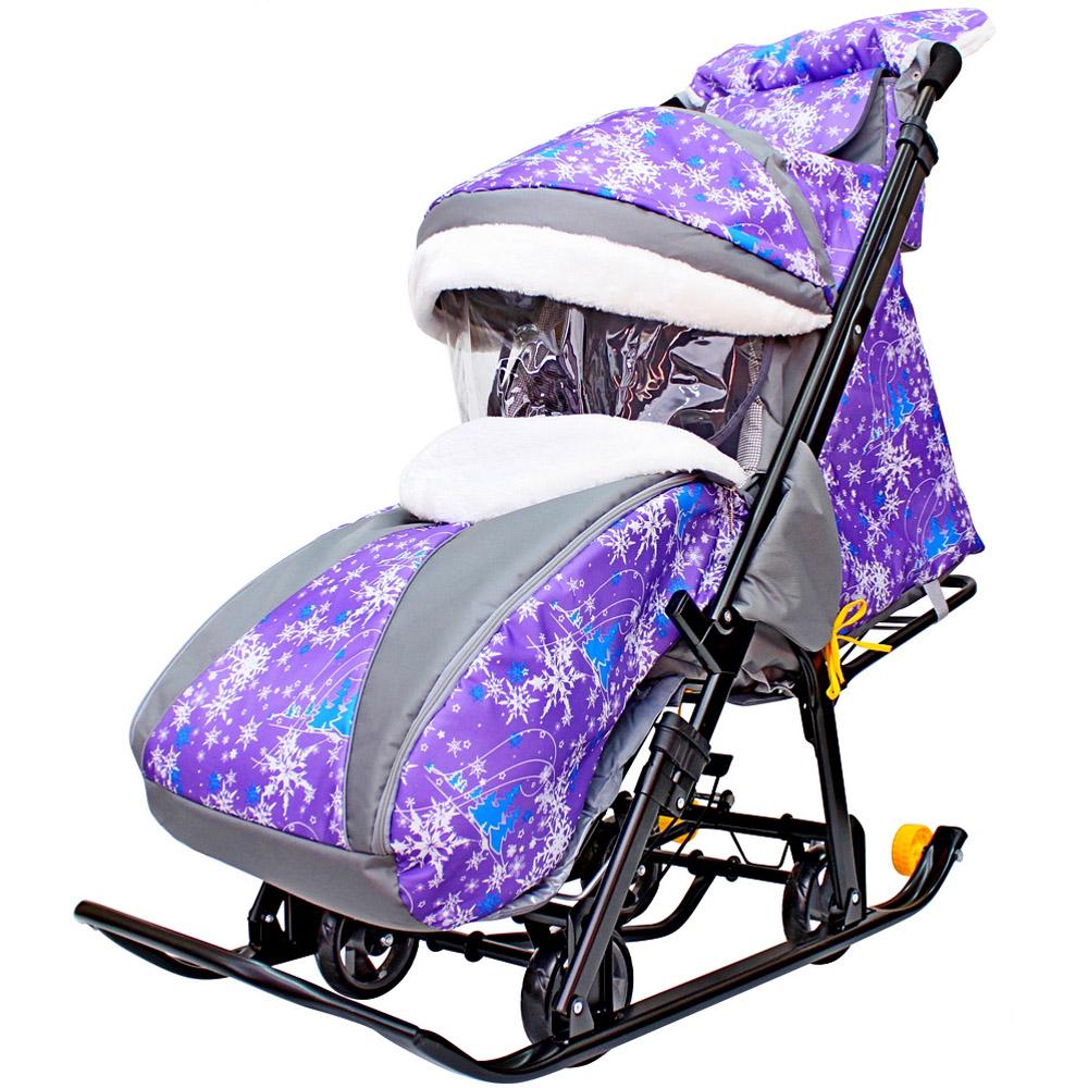 Санки-коляска SNOW GALAXY LUXE на больших мягких колесах сумка муфта Елки на Фиолетовом<br>