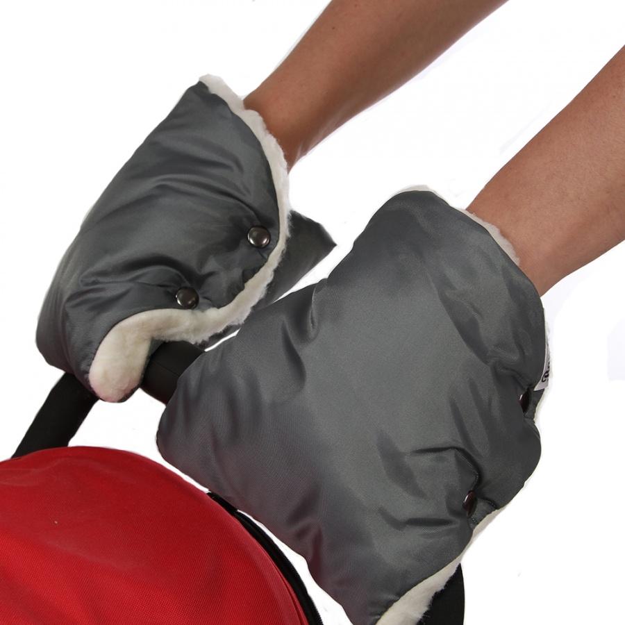 Муфта-варежки Bambola для коляски шерстяной мех плащевка Лайт Серый<br>