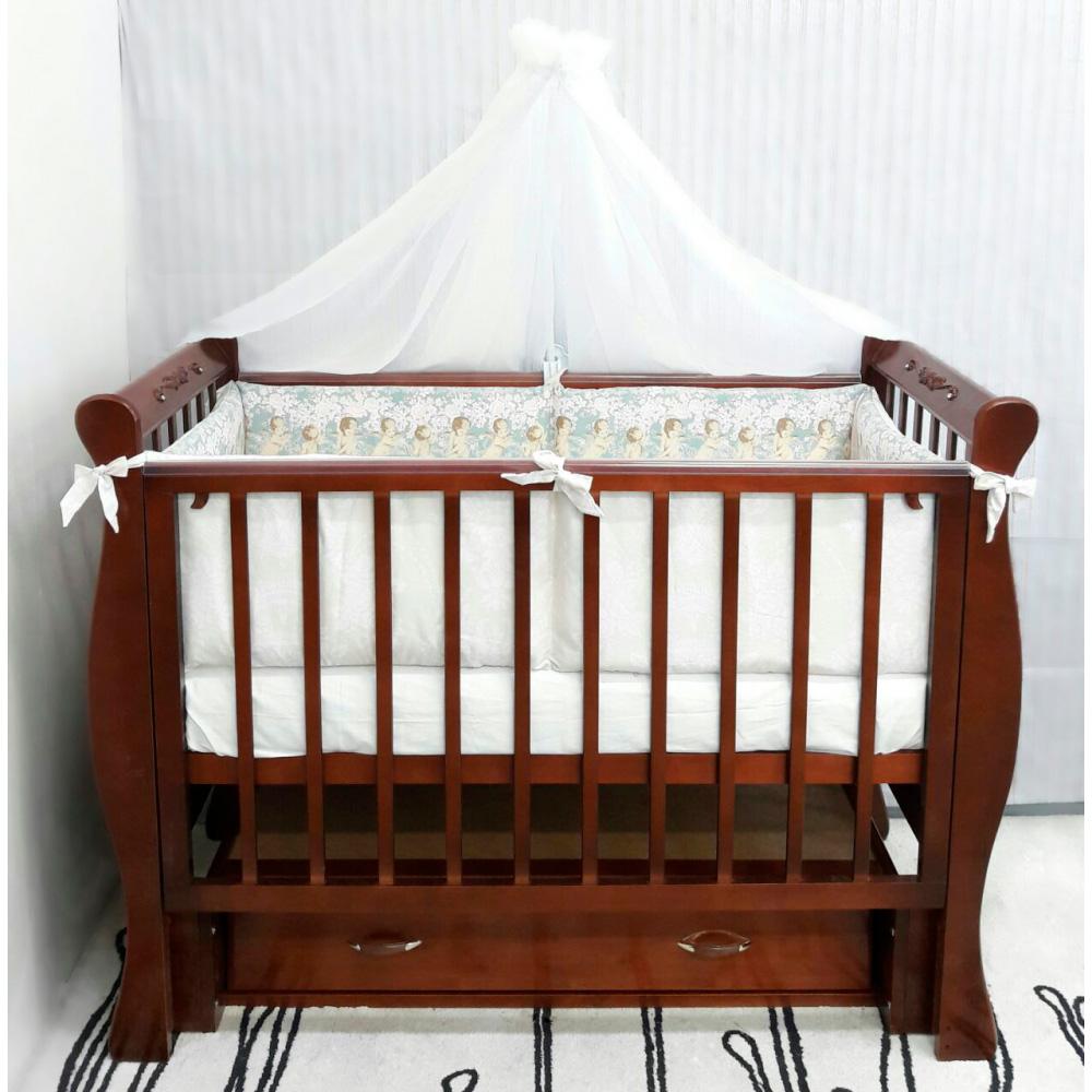 Кроватка ByTwinz Венеция Swarovski универсальный маятник с ящиком Темный орех<br>