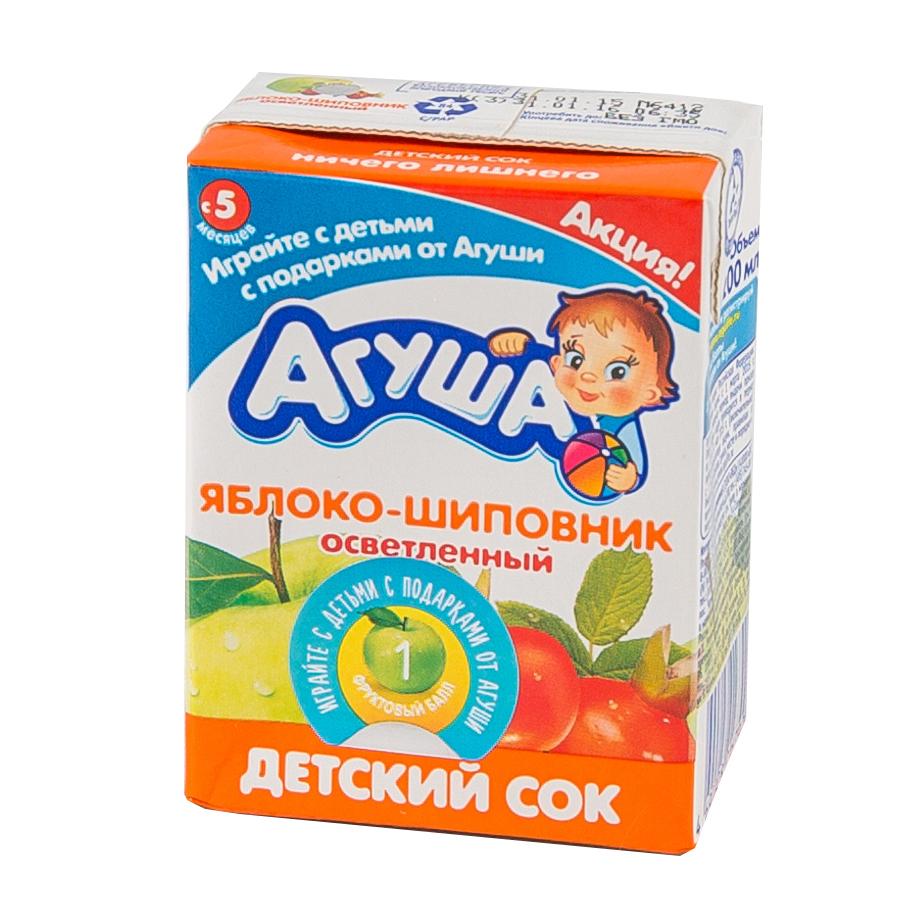 Сок Агуша 200 мл (тетрапак) Яблоко с шиповником (с 5 мес)<br>