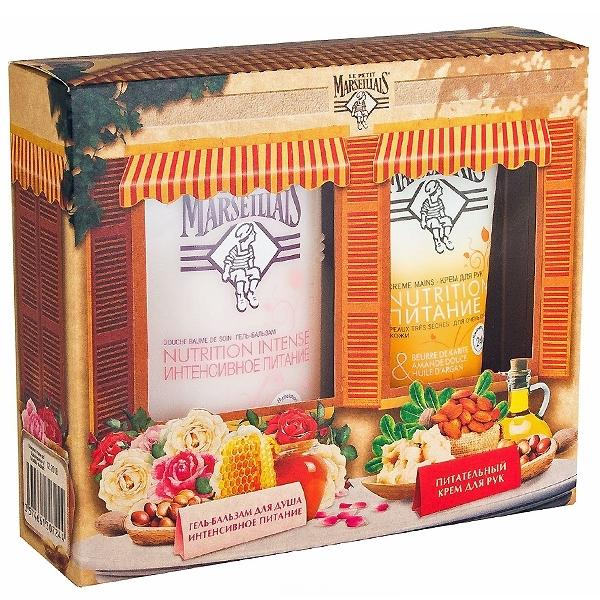 Набор Le Petit Marseillais Гель-бальзам Масло арганы пчелиный воск масло лепестков розы 250мл + крем для рук Карите сладкий<br>