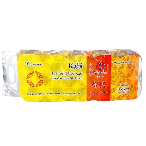 Туалетная бумага Maneki Kabi 3 слоя 3 слоя (10 рулонов в упаковке) белая аромат Ромашки 39,2 м<br>