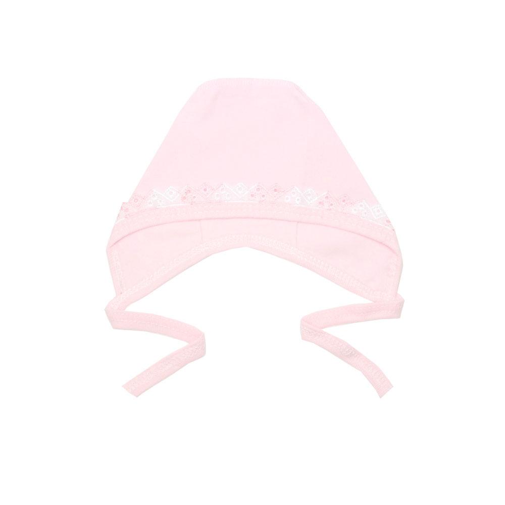 Чепчик с шитьем КОТМАРКОТ для девочки, цвет розовый 0-1 мес (размер 32)