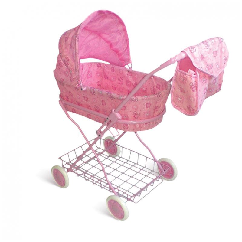 Коляска для кукол 1toy с люлькой Розовая