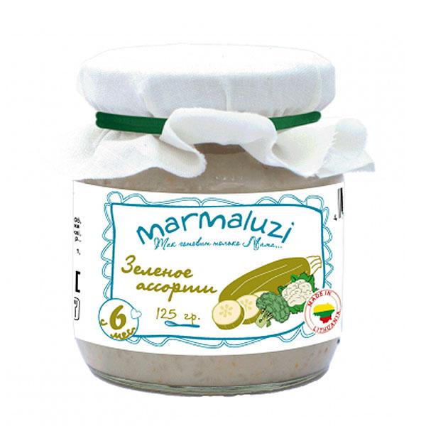 Пюре Marmaluzi овощное 125 гр Зеленое ассорти (с 6 мес)<br>